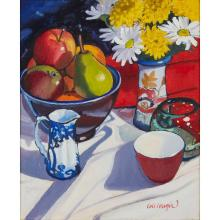 [§] FRANK COLCLOUGH (SCOTTISH CONTEMPORARY) STILL-LIFE WITH FRUIT AND FLOWERS 30cm x 25cm (11.75in x 9.75in)