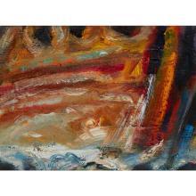 [§] JOHN HOUSTON O.B.E., R.S.A., R.S.W., R.G.I. (SCOTTISH 1930-2008) AT THE COAST, EVENING - 1999 28.5cm x 39cm (11.25in x 15.5in)