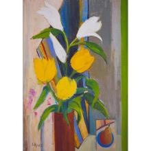 [§] LIZ KNOX (SCOTTISH CONTEMPORARY) FLOWERS AND STRIPES 50cm x 34cm (20in x 14in)
