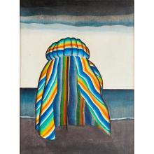 [§] JACK KNOX R.S.A. (SCOTTISH 1926-2015) BEACH TENT (NORTH SEA) 59.5cm x 45cm (23.5in x 17.75in)