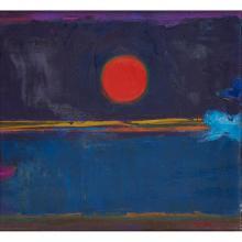 [§] JOHN HOUSTON O.B.E., R.S.A., R.S.W., R.G.I. (SCOTTISH 1930-2008) BIRDS AND EVENING SUN 28cm x 30cm (11in x 12in)