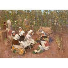 THOMAS AUSTEN BROWN A.R.S.A., R.S.W., R.I. (SCOTTISH 1857-1924) THE HOP HARVEST 38cm x 53.5cm (15in x 21in)