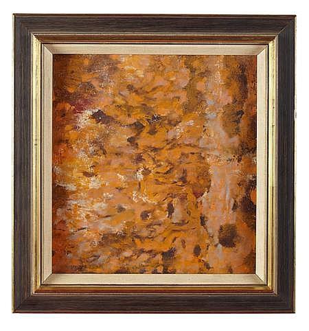 HUGH ADAM CRAWFORD R.S.A. (SCOTTISH 1898-1982) BATHERS IN ORANGE 37cm x 38.5cm (14.25 in x 15.25 in)