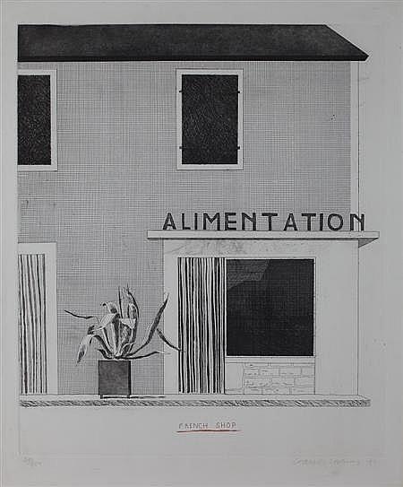 § DAVID HOCKNEY (BRITISH B. 1937) THE FRENCH SHOP 53.5cm x 45cm (21.1in x 17.7in)