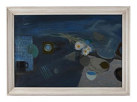 WILLIAM HUNTER LITTLEJOHN R.S.A., R.S.W., R.G.I. (SCOTTISH 1929-2006) STILL LIFE WITH TARGETS 59cm x 90cm (23.2in x 35.4in)
