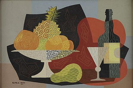 GEORGE ELMSLIE OWEN R.B.A. (BRITISH 1899-1964) STILL LIFE WITH PINEAPPLE 31cm x 41.5cm (12.2in x 16.3in)