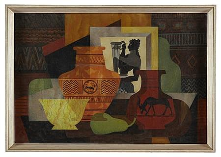 GEORGE ELMSLIE OWEN R.B.A. (BRITISH 1899-1964) STILL LIFE WITH GREEK MOTIFS 32cm x 47cm (12.6in x 18.5in)