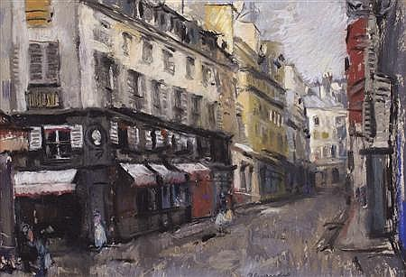 LENA ALEXANDER (SCOTTISH 1899-1983) PARIS STREET 36cm x 53cm (14in x 21in)