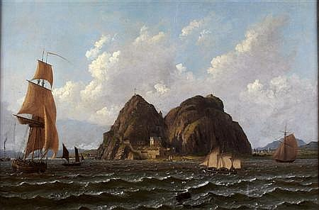 JOHN KNOX (SCOTTISH 1778-1845) SHIPPING OFF DUMBARTON ROCK 51cm x 76cm (20in x 30in)
