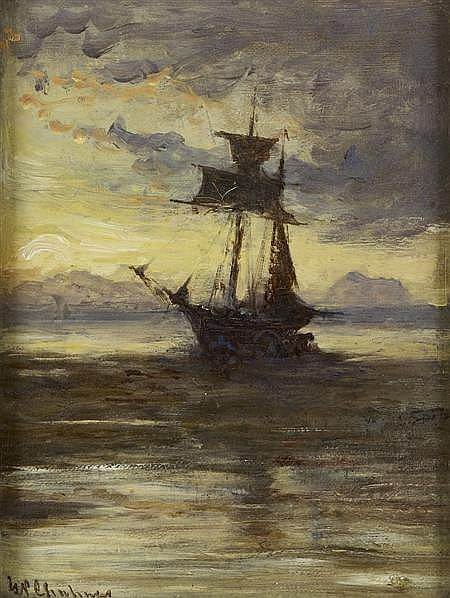 GEORGE PAUL CHALMERS R.S.A., R.S.W. (SCOTTISH 1833-1878) OILS (2) OFF THE COAST OF HOLLAND 19cm x 15cm (7.5in x 6in) and a companion...