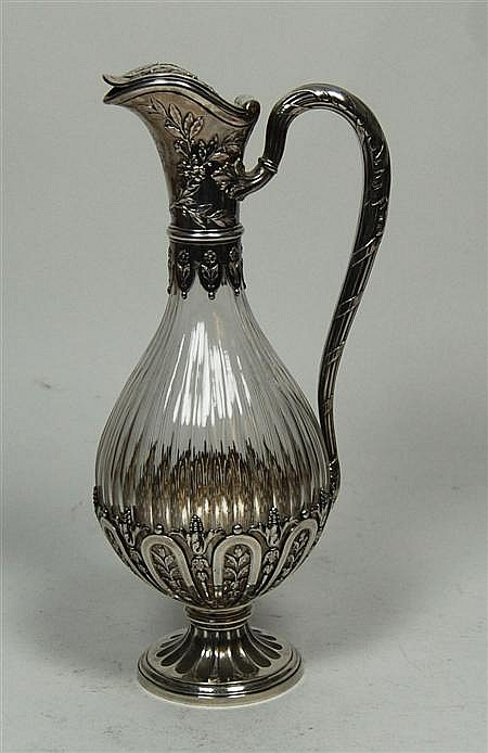 A French silver mounted glass decanter 32cm high