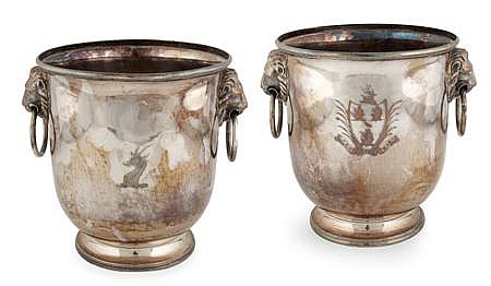 A pair of Sheffield plated wine coolers 20cm high