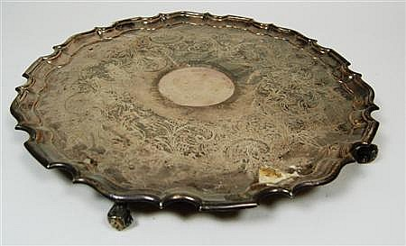 A large 19th century Sheffield plate salver Diameter 45.4cm and 26cm