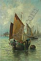 JULES VERNIER (FRENCH, LATE 19TH CENTURY) BOATS IN THE VENICE LAGOON 69cm x 47cm (27in x 18.5in), Jules Vernier, Click for value