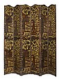 CONTINENTAL EMBOSSED POLYCHROME AND GILT LEATHER SIX FOLD FLOOR SCREEN 19TH CENTURY 266cm high, 216 wide