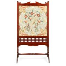 WILLIAM MORRIS (1834-1896) FOR MORRIS & CO. ''APPLE TREE'' MAHOGANY FRAMED EMBROIDERED FIRESCREEN, CIRCA 1880 panel 58 x 57.5cm, scree.