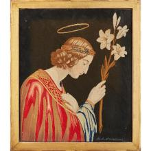 ENGLISH SCHOOL ''ST CLARE OF ASSISI'' BERLIN WOOLWORK PANEL, DATED 1848 48 x 40.5cm