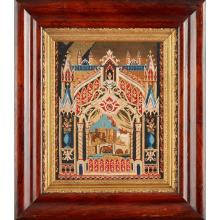 ENGLISH SCHOOL GOTHIC REVIVAL EMBROIDERED WOOLWORK PANEL, CIRCA 1850 35 x 28cm