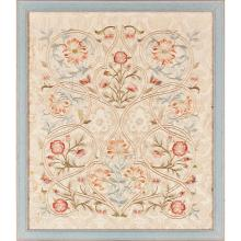 LEEK SCHOOL OF EMBROIDERY ARTS & CRAFTS EMBROIDERED SILKWORK PANEL, CIRCA 1880 54 x 46cm