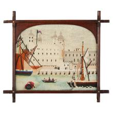 ENGLISH SCHOOL NAIVE WOOLWORK PICTURE, CIRCA 1850 46 x 57cm