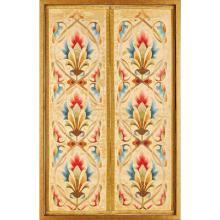 GOTHIC REVIVAL PAIR OF EMBROIDERED SILK AND GOLDWORK PANELS, CIRCA 1870 89.5 x 56.5cm