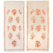 SIR ROBERT LORIMER (1864-1929) IMPORTANT PAIR OF CREWELWORK BED HANGINGS, DATED 1893 233 x 97cm