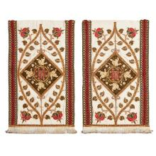 MANNER OF LEEK SCHOOL OF EMBROIDERY PAIR OF GOTHIC REVIVAL ECCLESIASTICAL EMBROIDERED BANNERS, CIRCA 1880 81 x 47cm