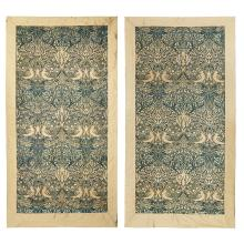 WILLIAM MORRIS (1834-1896) FOR MORRIS & CO. PAIR OF SILK ''DOVE AND ROSE'' PATTERN HANGING PANELS, CIRCA 1879 175 x 84cm, including bo.