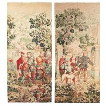 FRENCH SCHOOL PAIR OF DECORATIVE FAUX TAPESTRY WALL PANELS, CIRCA 1875 302 x 133cm