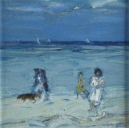 § JOHN HOUSTON R.S.A., O.B.E. (SCOTTISH 1930-2008) BEACH, TROUVILLE 25.5cm x 25.5cm (10in x 10in)