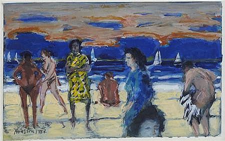 § JOHN HOUSTON R.S.A., O.B.E. (SCOTTISH 1930-2008) BY THE SEA, EVENING 9cm x 15cm (3.75in x 5.75in)