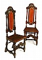 † PAIR OF QUEEN ANNE STYLE WALNUT HIGH BACK HALL CHAIRS 46cm wide, 126cm high, 39cm deep