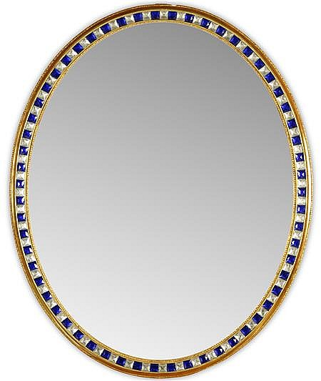 IRISH OVAL WALL MIRROR 19TH CENTURY 112cm wide, 137cm high