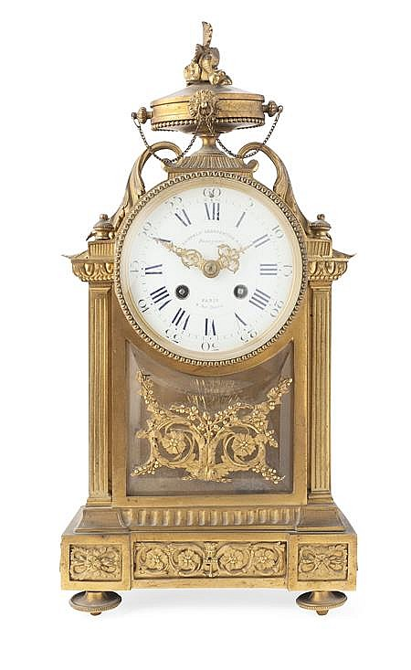 gilt bronze mantel clock by lemerle charpentier cie late. Black Bedroom Furniture Sets. Home Design Ideas