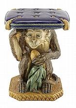 MINTON & CO. MAJOLICA 'MONKEY' GARDEN SEAT, 1867 45cm high