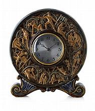 GEORGE TINWORTH (1843-1914) FOR DOULTON & CO., LAMBETH 'AGES OF MAN', RARE STONEWARE CLOCK, DATED 1880 24cm wide, 27cm high