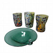 STUDIO GLASS THREE FREEFORM GLASS BEAKERS, LATE 20TH CENTURY