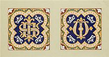 A.W.N. PUGIN (1812-1852) FOR MINTON & CO. PAIR OF FRAMED EARTHENWARE TILES, CIRCA 1850 each 15cm square