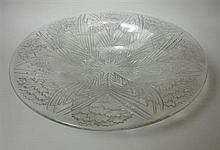 LALIQUE, FRANCE 'OEILLETS', CLEAR GLASS SERVING DISH, POST 1945 (DESIGNED 1932) 36cm diameter
