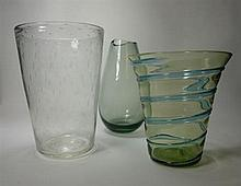 WHITEFRIARS TAPERING GLASS VASE, CIRCA 1950