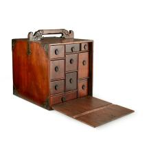 HARDWOOD APOTHECARY CHEST, YAO XIANG LATE QING DYNASTY 39.5cm high, 29.5cm wide, 35cm deep