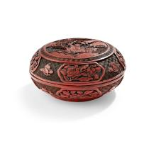 CINNABAR LACQUER CIRCULAR BOX AND COVER QING DYNASTY, 19TH CENTURY 16.5cm diam