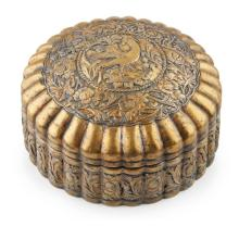TANG-STYLE GILT-METAL LOBED BOX AND COVER 15.5cm wide