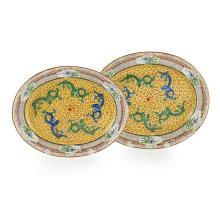 TWO FAMILLE JAUNE 'DRAGON' MEAT DISHES larger one 41cm long