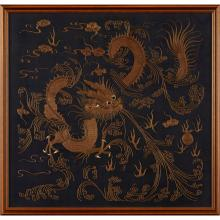 EMBROIDERED BLUE-GROUND 'DRAGON' PANEL MEIJI PERIOD 60x61cm (overall)