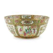 LARGE CANTON FAMILLE ROSE PUNCH BOWL QING DYNASTY, 19TH CENTURY 40cm diam