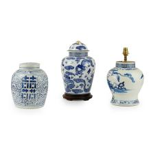 BLUE AND WHITE BALUSTER JAR CONVERTED INTO A LAMP KANGXI MARK BUT 19TH CENTURY