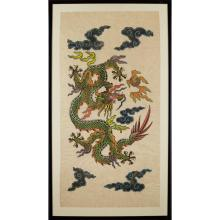 TWO WATERCOLOURS OF DRAGONS 19TH CENTURY 103x51cm (sight)