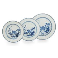 SET OF THREE LARGE BLUE AND WHITE EXPORT PLATES QIANLONG PERIOD largest 41.5cm diam