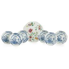 SET OF SIX BLUE AND WHITE EXPORT OCTAGONAL DISHES QIANLONG PERIOD